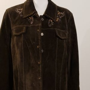 Coldwater Creek Brown leather jacket sz XL
